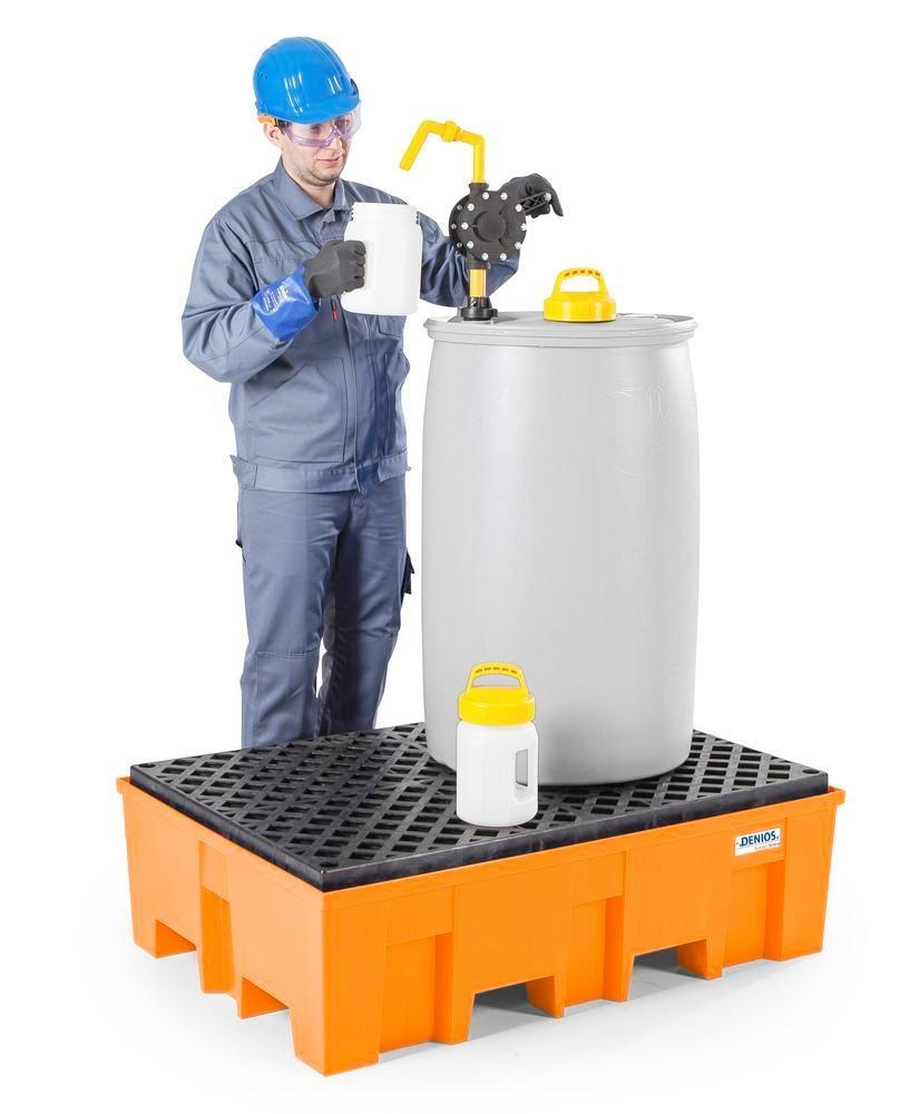 Spill pallet base-line in polyethylene (PE) for 2 drums, with PE grid - 2