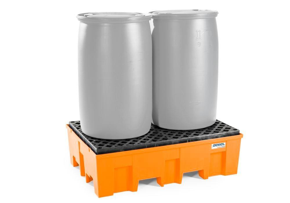 Spill pallet base-line in polyethylene (PE) for 2 drums, with PE grid - 6