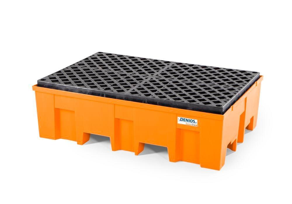 Spill pallet base-line in polyethylene (PE) for 2 drums, with PE grid
