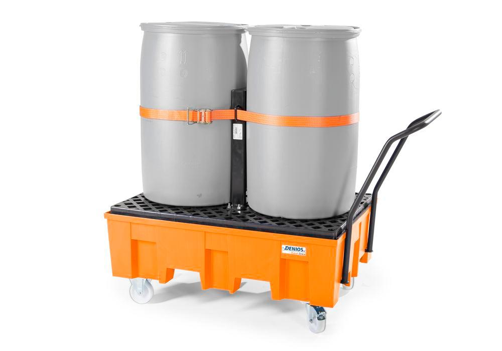 Spill pallet base-line in polyethylene (PE) for 2 drums, with PE grid, mobile