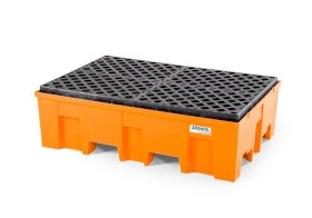 Spill pallet base-line in polyethylene (PE) for 2 drums, with PE grid-w280px
