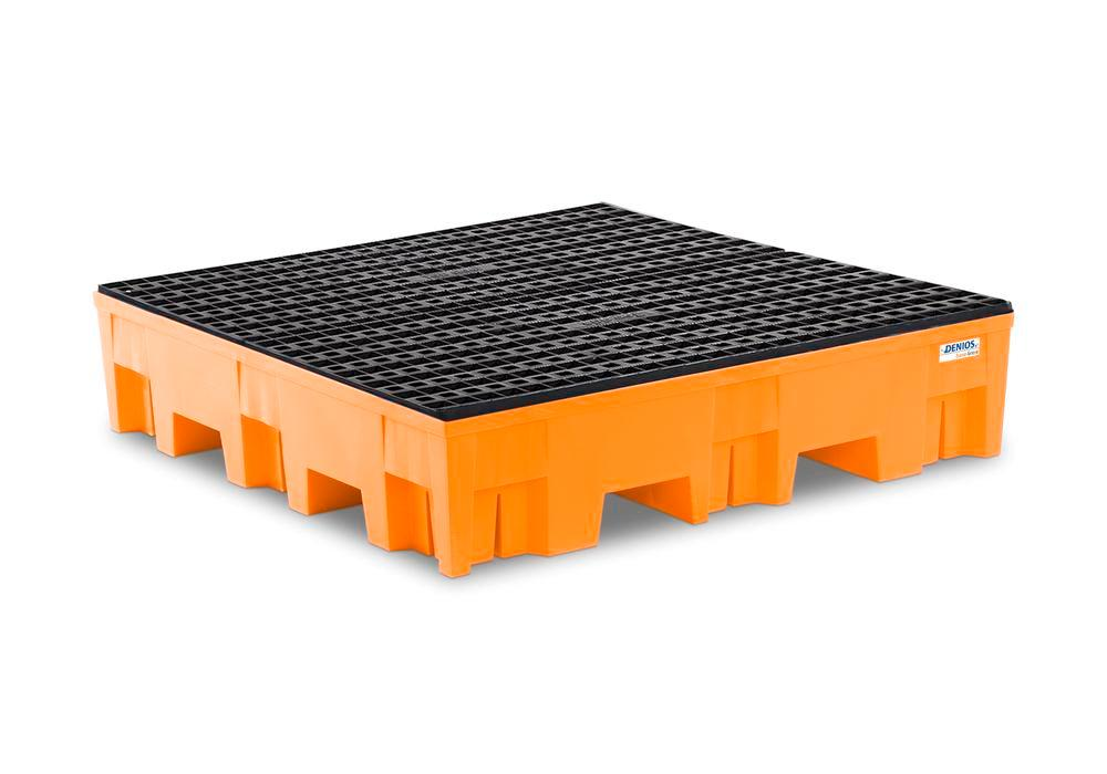 Spill pallet base-line in polyethylene (PE) for 4 drums, with PE grid - 1