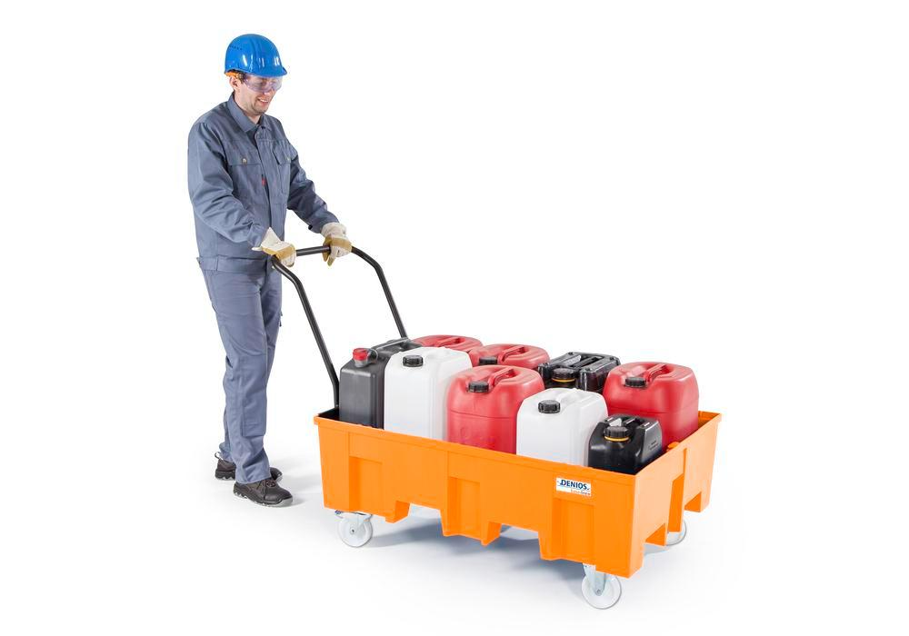 Spill pallet base-line in polyethylene (PE), without grid, mobile