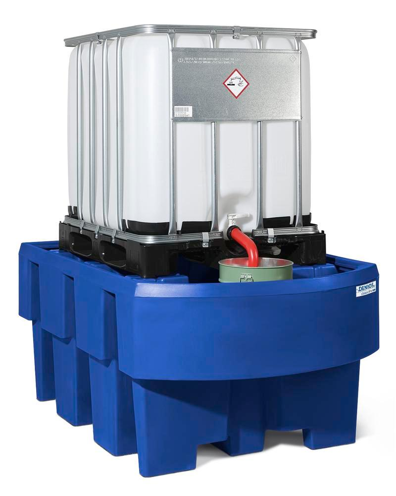 Spill pallet classic-line in polyethylene (PE) for 1 IBC, with dispensing area