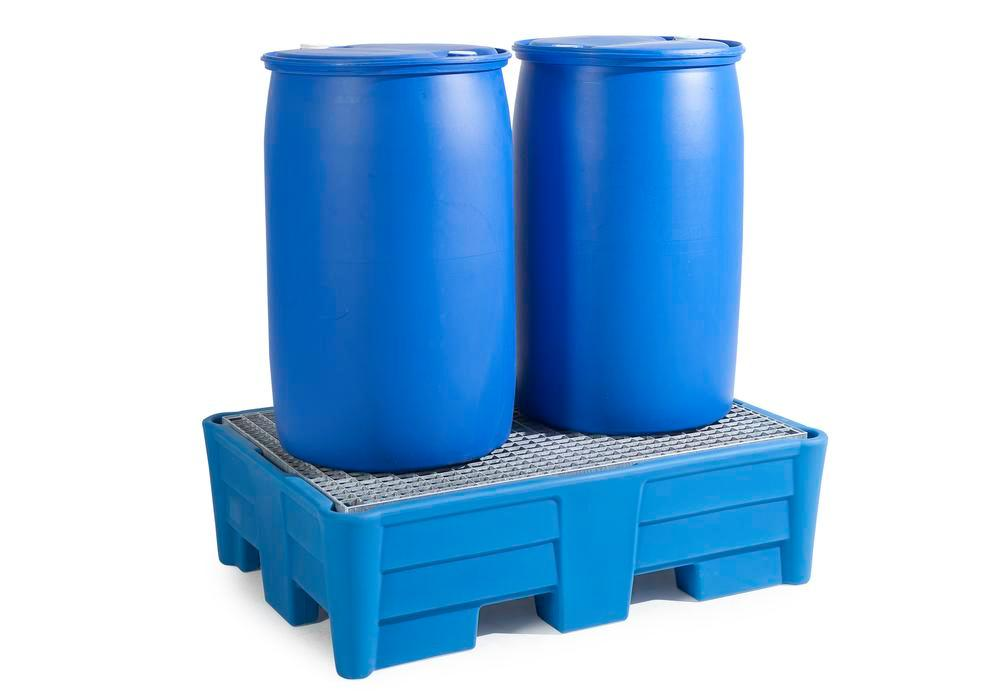 Spill pallet classic-line in polyethylene (PE) for 2 drums, with galvanised grid, 1330x930x385
