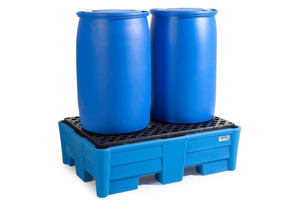 Spill pallet classic-line in polyethylene (PE) for 2 drums, with PE grid, 1330x930x410