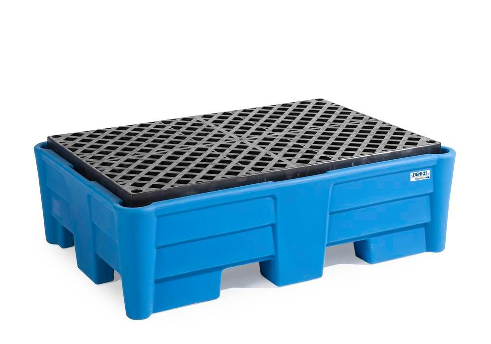 Spill pallet classic-line in polyethylene (PE) for 2 drums, with PE grid, 1330x930x410 - 1