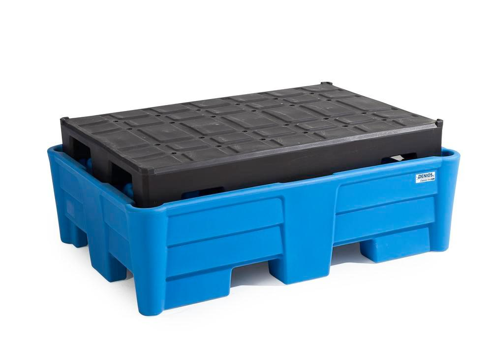 Spill pallet classic-line in polyethylene (PE) for 2 drums, with PE pallet, 1330x930x500