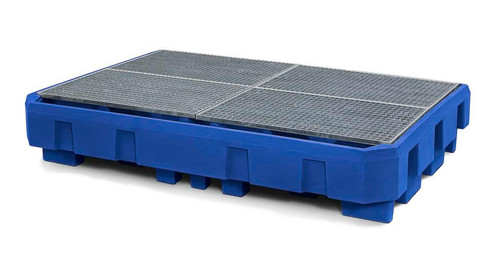 Spill pallet classic-line in polyethylene (PE) for 2 IBCs, with dispensing area and galvanised grid - 1