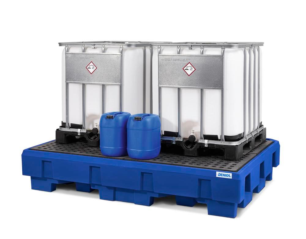 Spill pallet classic-line in polyethylene (PE) for 2 IBCs, with dispensing area and PE grid - 4