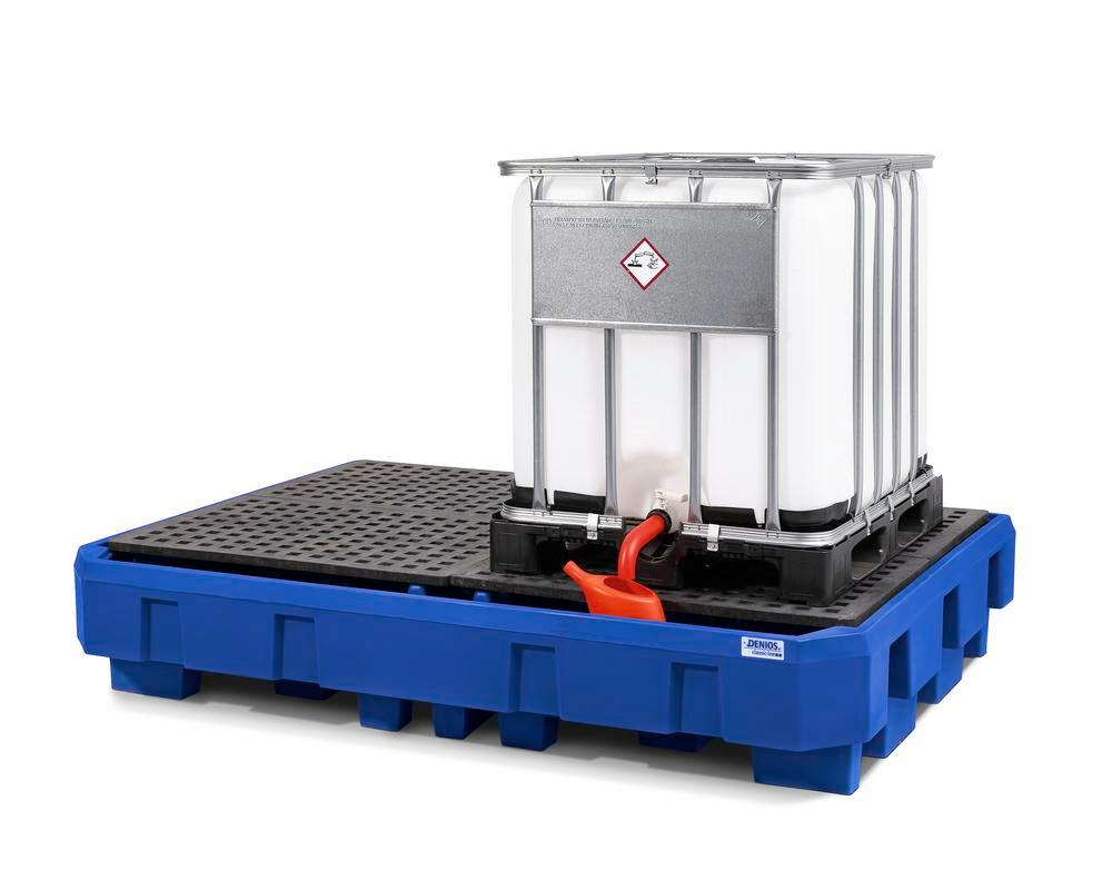 Spill pallet classic-line in polyethylene (PE) for 2 IBCs, with dispensing area and PE grid