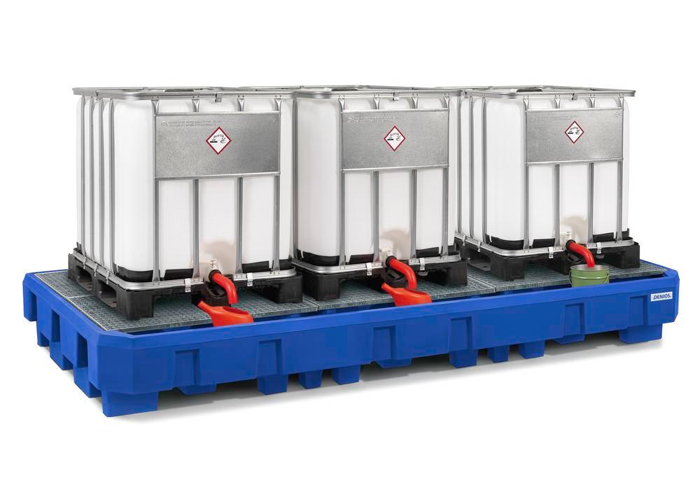 Spill pallet classic-line in polyethylene (PE) for 3 IBCs, with dispensing area and galvanised grid - 1