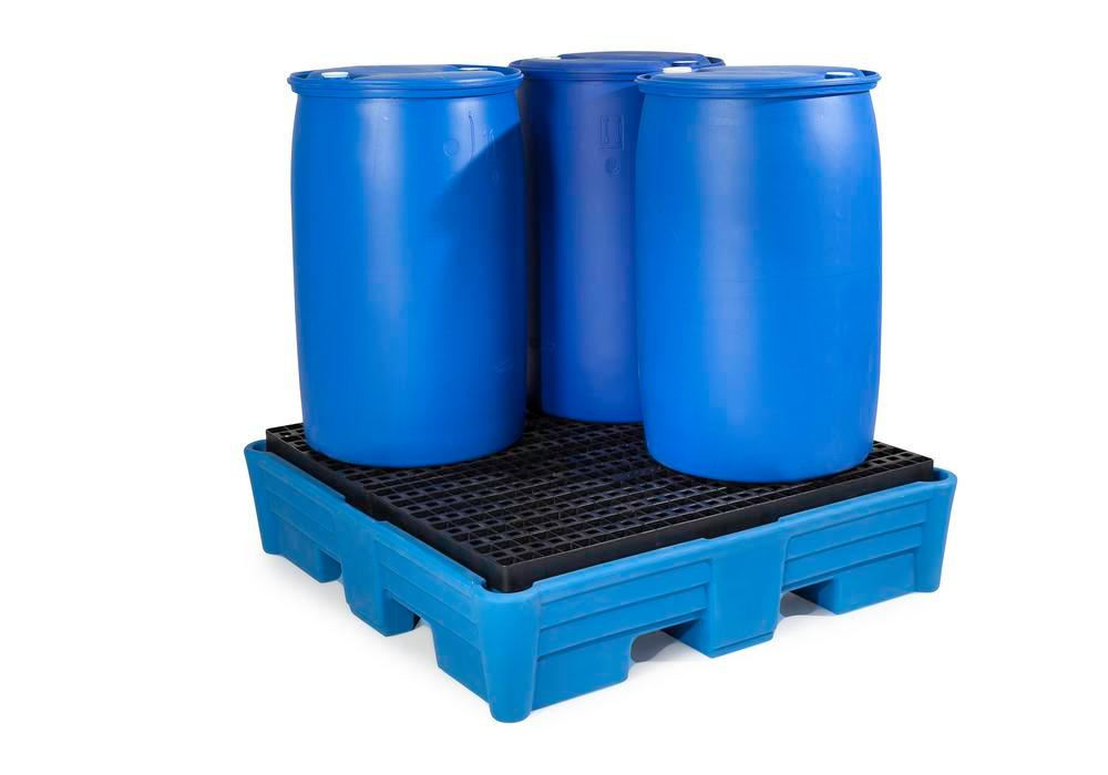 Spill pallet classic-line in polyethylene (PE) for 4 drums, with PE grid, 1330x1330x320 - 2