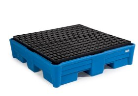 Spill pallet classic-line in polyethylene (PE) for 4 drums, with PE grid, 1330x1330x320-w280px