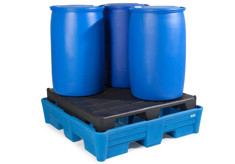 Spill pallet classic-line in polyethylene (PE) for 4 drums, with PE pallet, 1330x1330x410