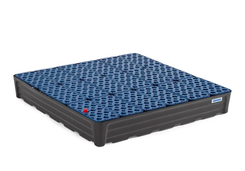 Spill tray for small containers pro-line in polyethylene (PE) with grid, 180 litres, 1170x1170x180