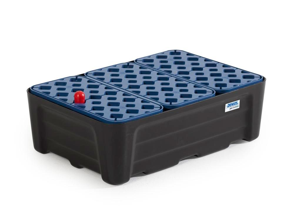 Spill tray for small containers pro-line in polyethylene (PE) with PE grid, 30 litres, 592x400x185