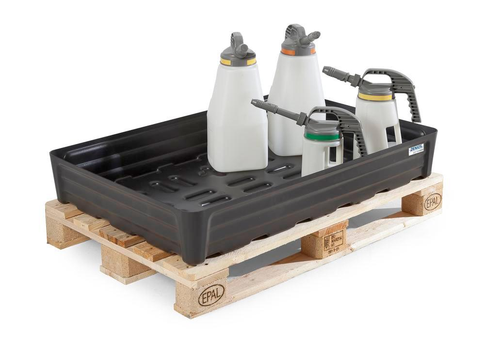 Spill tray for small containers pro-line in polyethylene (PE) without grid, 180 litre, 1170x1170x180