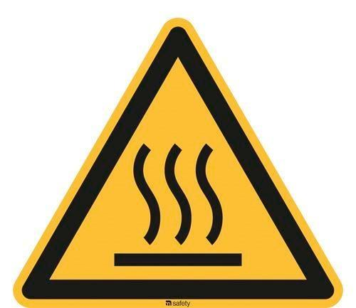 Warning sign Warning of hot surfaces, ISO 7010, foil 100 mm