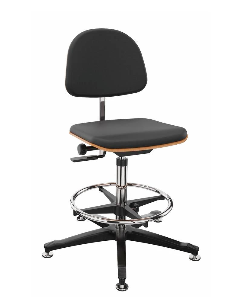 Work chair cover fabric black, floor glide, foot ring