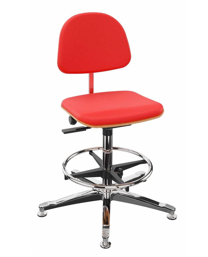 Work chair cover fabric red, aluminium base, floor glide, foot ring