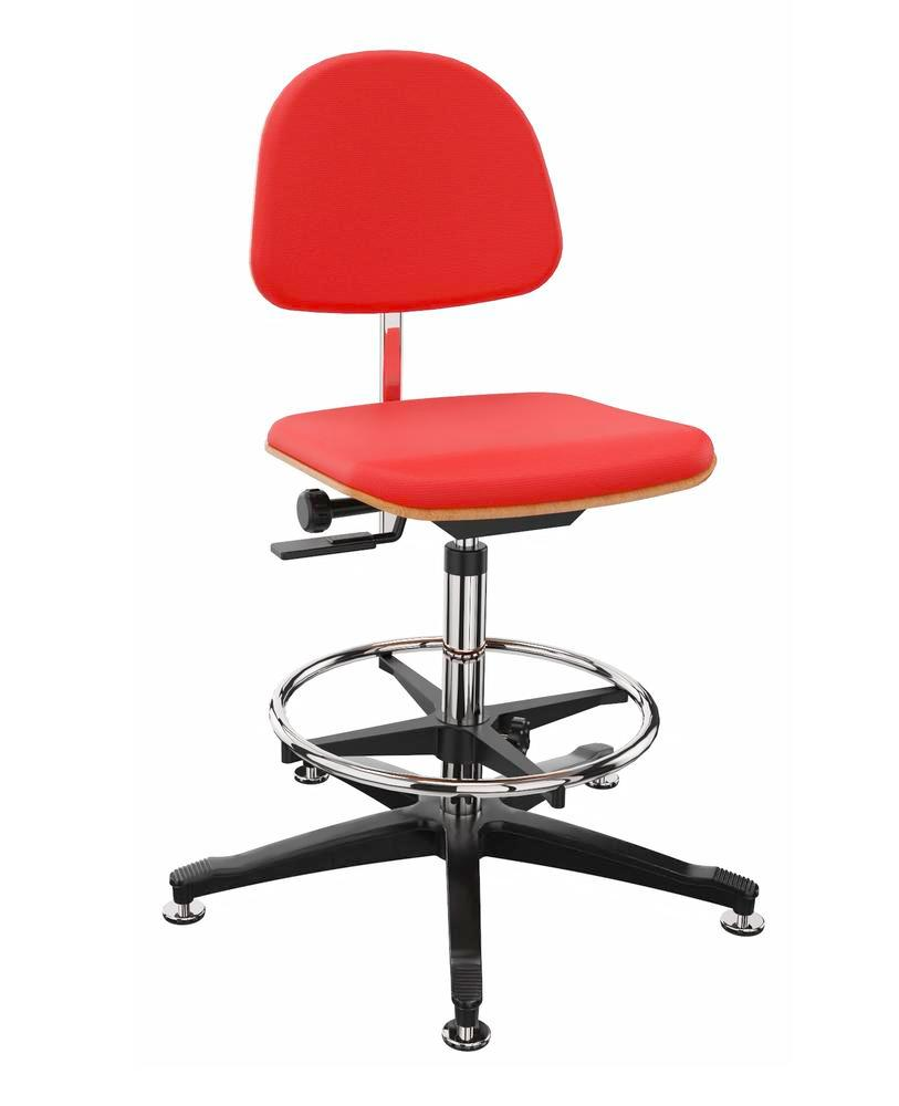 Work chair cover fabric red, floor glide, foot ring