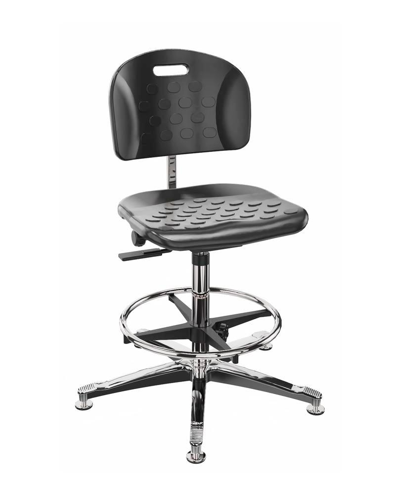Work chair PU, aluminium base, floor glide, foot ring