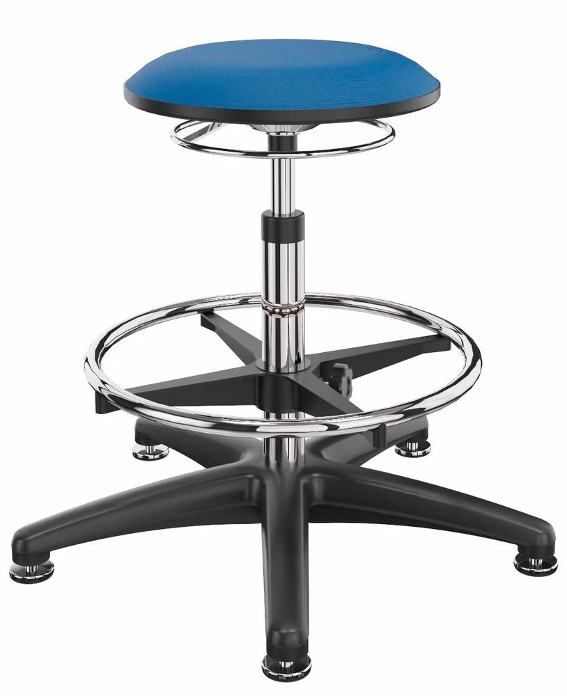 Work stool cover fabric blue, floor glide, foot ring