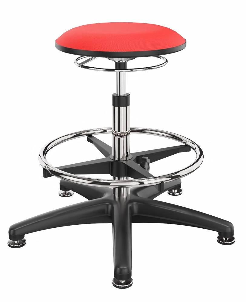 Work stool cover fabric red, aluminium base, floor glide, foot ring