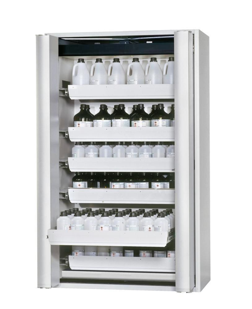 """asecos fire-rated hazmat cabinet GF 1201.6 """"one touch"""", 6 slide-out spill trays, grey"""