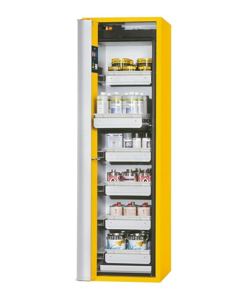 """asecos fire-rated hazmat cabinet """"one touch"""", 6 slide-out spill trays, door hinged left, yellow"""