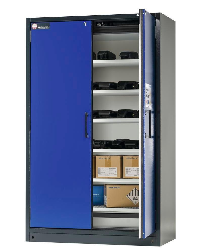 asecos Lithium-ion battery storage cabinet SafeStore, 6 shelves, W 1200 mm