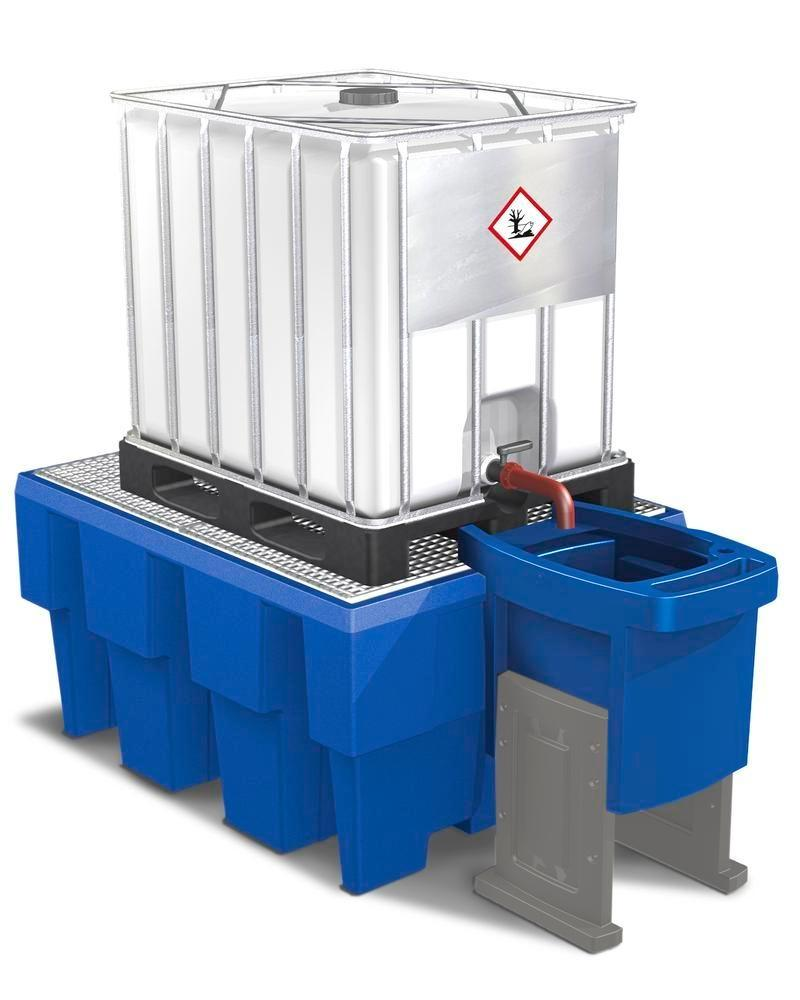 Dispensing tray for IBC spill pallets, height adjustable, with two legs - 4