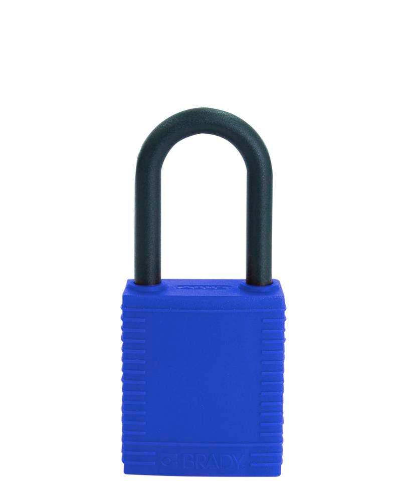 Safety lock with plastic coating, blue, non-conductive