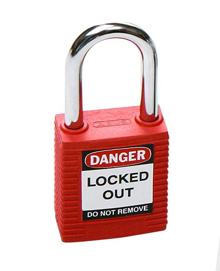 Safety lock with steel shackle, red, keyed to differ - 1