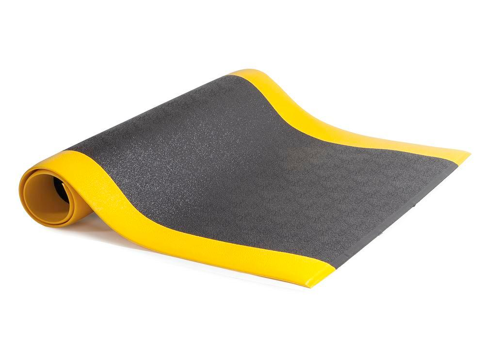 Anti-fatigue flooring for dry work areas, roll 0.9 x 1.5 m, black/ yellow with pimples