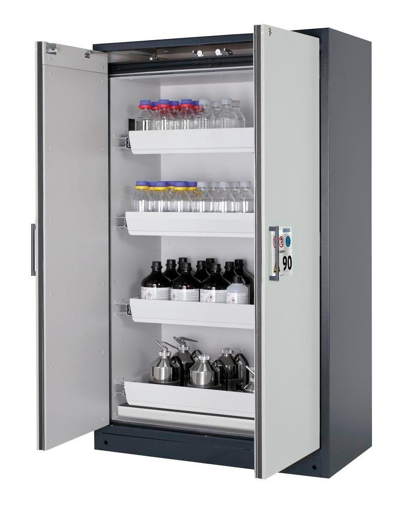 """asecos fire-rated hazmat cabinet Select W-124-O """"one touch"""", 4 slide-out spill trays, doors grey"""