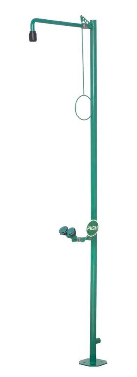 Body shower and eye shower, green, powder coated, floor mounting, BR 832 085 / 75L-w280px