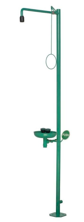 Body shower and eye shower with basin, green, floor mounting, BR 837 085 / 75L-w280px