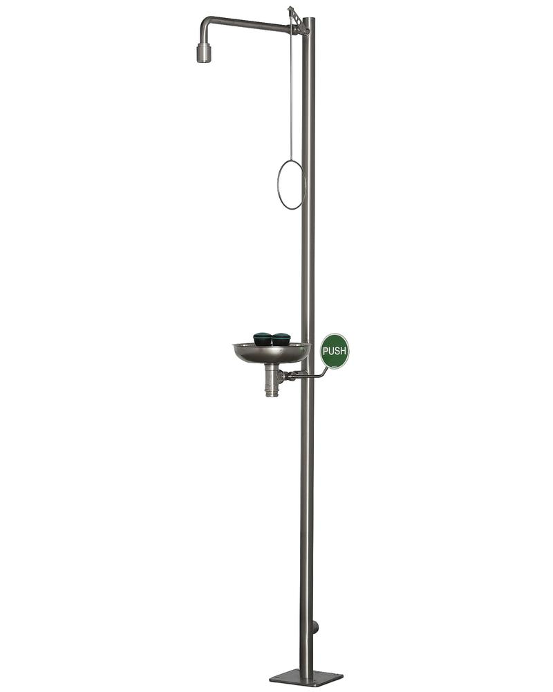 Body shower and eye shower with basin, stainless steel, floor mounting, BR 837 095 / 75L