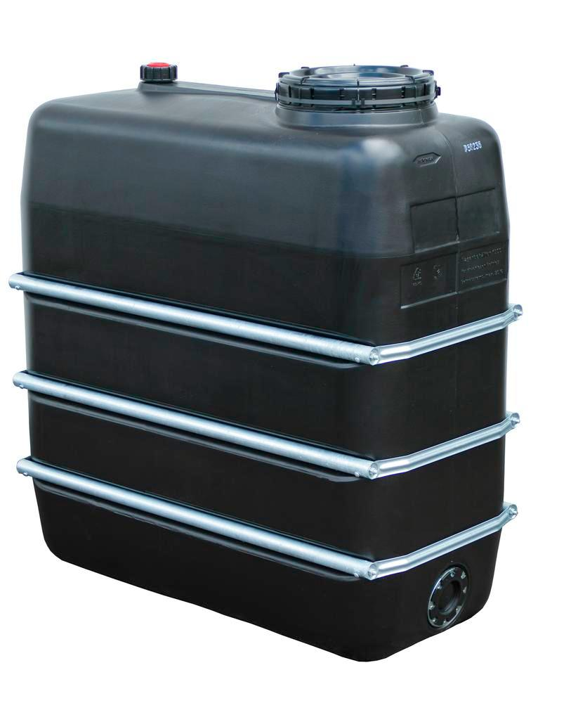 Chemical tank in polyethylene (PE), 1,500 litre volume, black