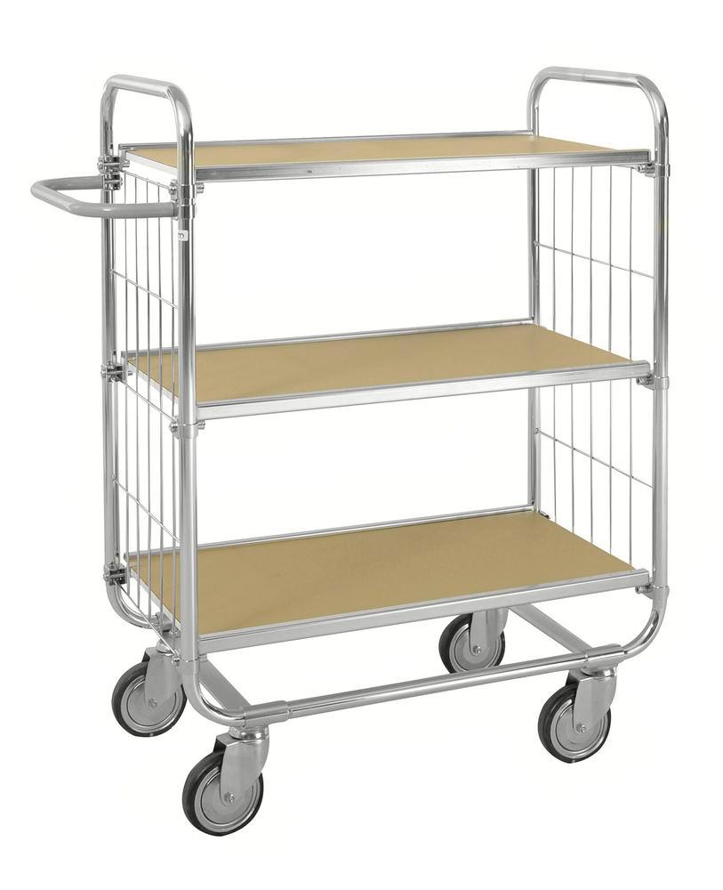 ESD tiered trolley KM, galvanised, 3 flexible shelves, LxWxH 1195 x 470 x 1120 mm, 4 castors, stop