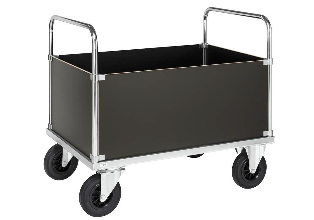 Four-wall trolley KM, galv., MDF boards, high design, LxW 1000 x 700 mm, solid rubber castors, brake