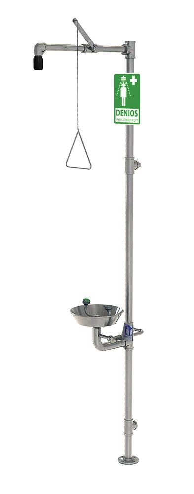 Full body and eye shower, G 1991, made from stainless steel, with basin for the eye and face shower - 1