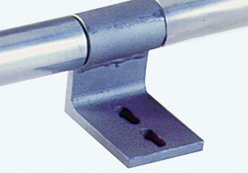 Intermediate bracket for mounting light metal tubes for shelving stepladder