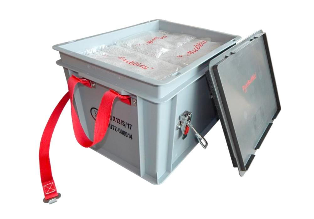 Lithium-ion battery transport box in PP,18 l, XS-Box 1 Basic, filling PyroBubbles®