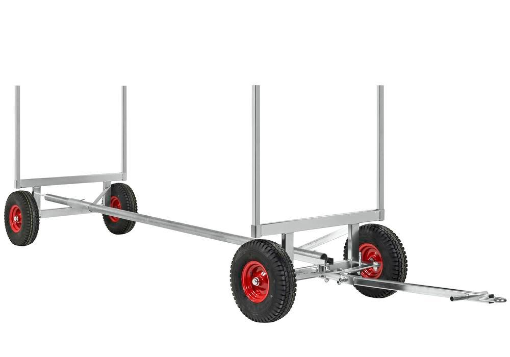 Long materials trolley KM with handle, galv., TK 3500 kg, L max. 4000 mm, 4 pneumatic wheels