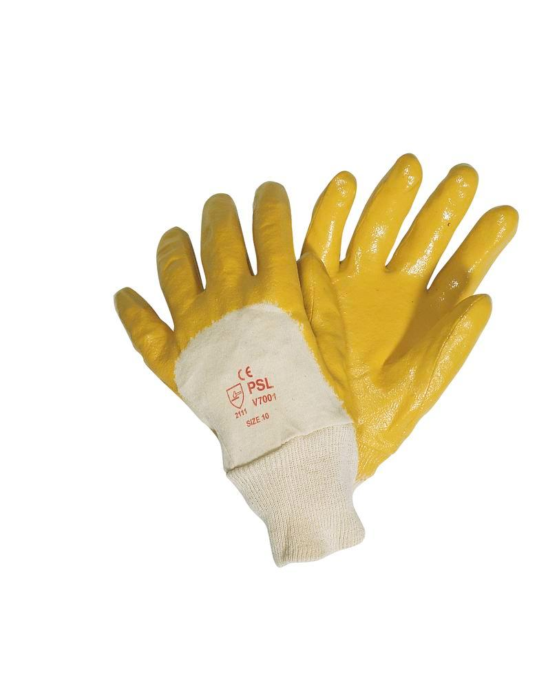 Pack of 12 Nitrile Rubber Safety Gloves in Yellow - Size 9 - 1
