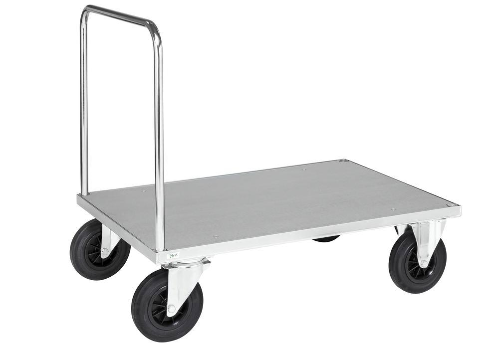 Platform trolley KM, galvanised, LxW 1000 x 700 mm, solid rubber castors, brake