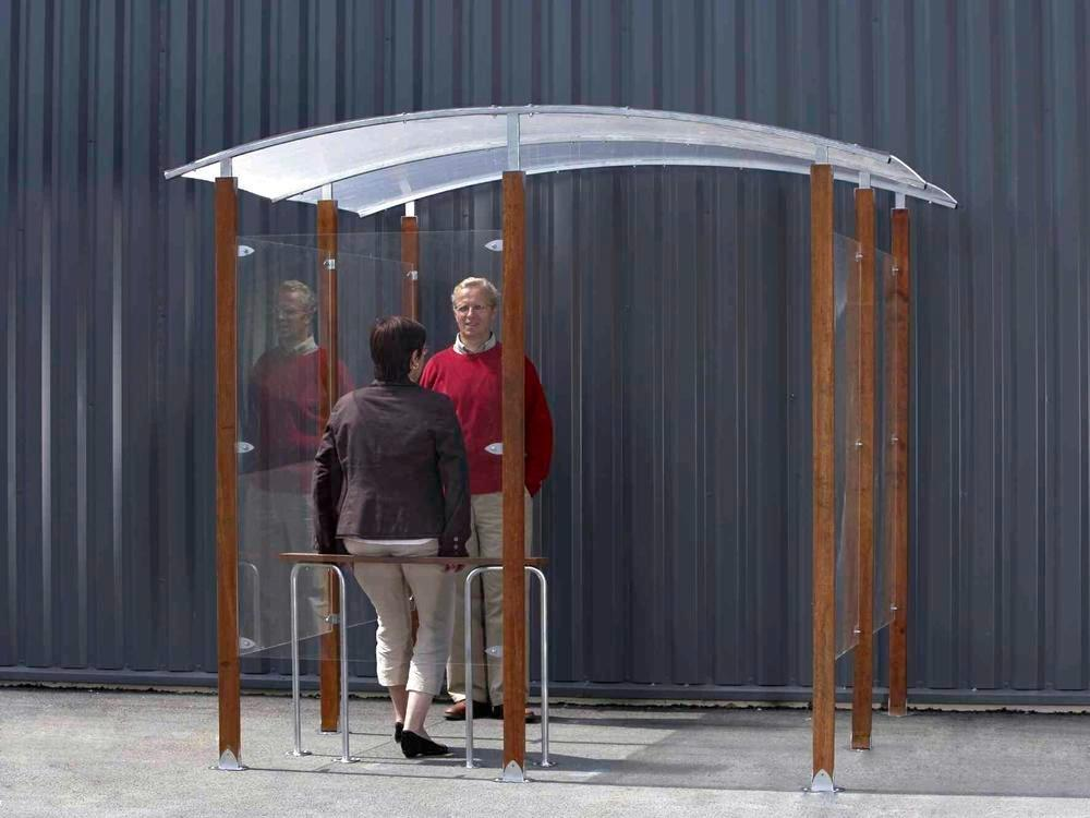 Smoking shelter, for wall mounting, 2 m², wooden frame - 1